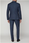 Navy Honeycomb Texture Tailored Fit Jacket