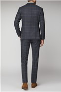 Blue Check Tailored Fit Tweed Suit
