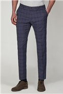 Slate Blue Check Slim Fit Trousers