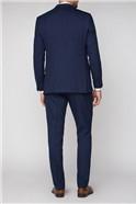 Navy Hopsack Regular Fit Travel Suit Trouser