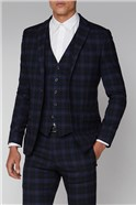Blue Mustard Check Slim Fit Suit