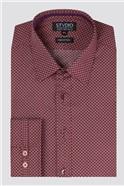 Stvdio Burgundy Geo Print Shirt