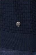 Navy Basket Weave Zip Through