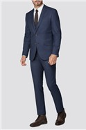Navy With Tan Mini Check Regular Fit Suit Trousers