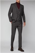 Limehaus Heritage Grey Burgundy Overchecked Trousers