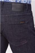 Dark Blue Rinse Wash Straight Fit Stretch Jeans