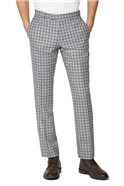 Grey Navy Check Tweed Slim Fit Suit