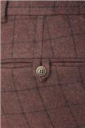 Burgundy Check Tweed Slim Fit Suit Trouser