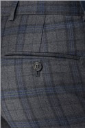 Grey & Blue Overcheck Tailored Fit Trouser