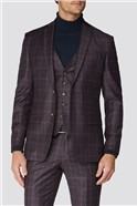 Berry Check Tailored Fit Suit Trousers