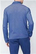 Blue Contrast Panel Long Sleeve Polo