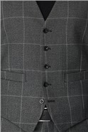 Grey Check Regular Fit Waistcoat
