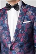 Navy & Pink Floral Slim Fit Suit