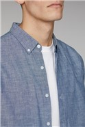Raftan Blue Long Sleeve Chambray Slub Shirt