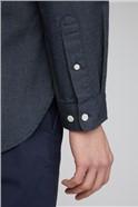 Maltan Navy Long Sleeve Semi Plain Shirt