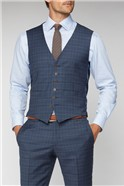 Navy Heritage Check Tailored Fit Waistcoat