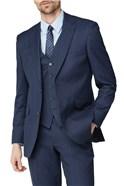 Blue Texture Birdseye Performance Regular Fit Suit Trouser