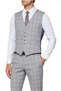 Light Grey & Pink Checked Tailored Fit Suit