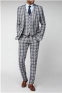 Grey Blue Check Slim Fit Suit
