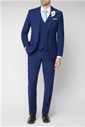Blue Plain Regular Fit Suit