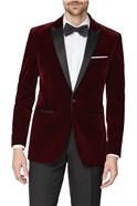 Burgundy Velvet Regular Fit Jacket