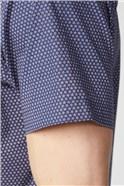 Casual Navy Micro Daisy Shirt