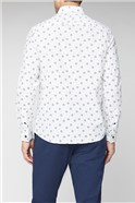 Casual White Scattered Leaf Print Tailored Fit Shirt