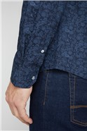 Casual Navy Tonal Floral Shirt