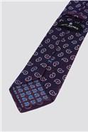 Wine Textured Paisley Tie
