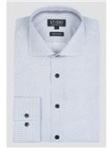 Stvdio White Micro Sun Print Slim Fit Shirt