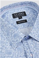 Stvdio Slim Fit Light Blue Line Paisley Shirt