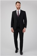 Black Textured Tailored Fit Suit