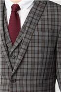 Grey Burgundy Check Waistcoat