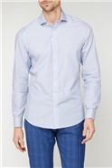 Brit Blue Dobby Square Stripe Slim Fit Shirt