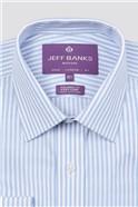 Bespoke Tailored Fit Light Blue Slub Fine Stripe Shirt