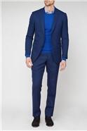 Blue Textured Regular Fit Suit