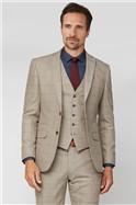 Oatmeal Herringbone Check Tweed Tailored Suit