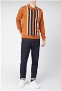 Script Button thru Stripe Knit Polo