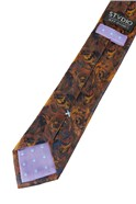 Stvdio by  Burnt Orange Tonal Roses Tie