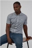 Short Sleeve Scatter Square Print Shirt