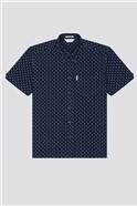 Archive Indigo Geo Print Shirt