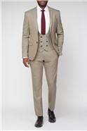 Brown Puppytooth Textured Stretch Suit