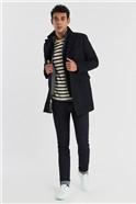 Navy Twill Slim Fit Overcoat
