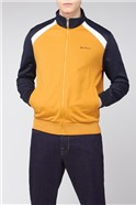 Mustard Yellow Navy Tricot Zip Through Jacket