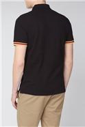 Black Mod Stripe Detail Polo Shirt