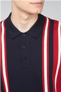 Red Navy Colour Block Polo Knit Shirt