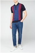 Red Blue Multi Colour Block Knitted Polo
