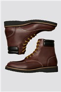 Lace Up Boot in Brown Leather
