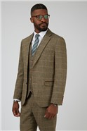 Ted Tan Check Tailored Fit Suit Trousers