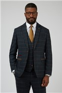 Eton Navy Check Tailored Fit Suit Trouser